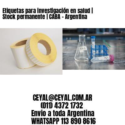 Etiquetas para investigación en salud | Stock permanente | CABA - Argentina