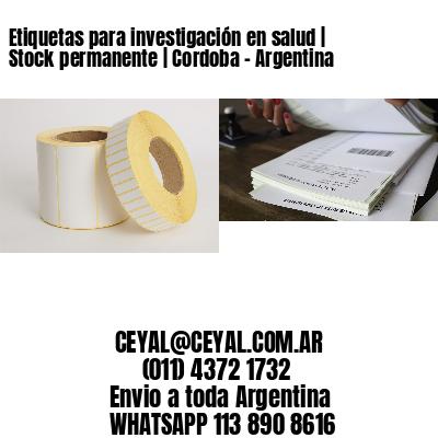 Etiquetas para investigación en salud | Stock permanente | Cordoba - Argentina
