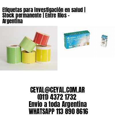 Etiquetas para investigación en salud | Stock permanente | Entre Rios - Argentina