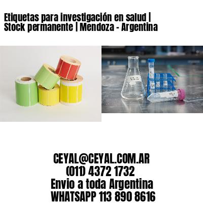 Etiquetas para investigación en salud | Stock permanente | Mendoza - Argentina