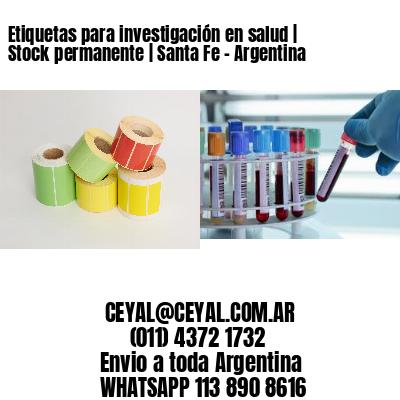 Etiquetas para investigación en salud | Stock permanente | Santa Fe - Argentina