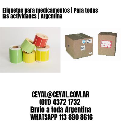 Etiquetas para medicamentos   Para todas las actividades   Argentina